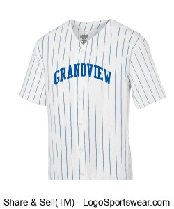 Augusta Adult Pinstripe Full Button Baseball Jersey Design Zoom